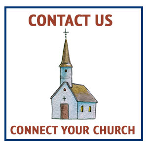 "small watercolor church with ""contact us, connect your church"" text"